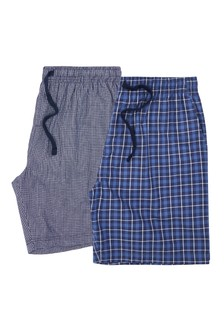 Blue Check Woven Pyjama Shorts Two Pack