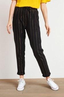 Black/Bronze Stripe Linen Blend Taper Trousers