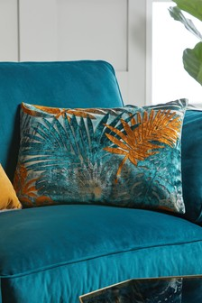 Tropical Palm Leaf Cut Velvet Cushion