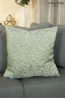 Ashley Wilde Green Wick Velvet Textured Cushion