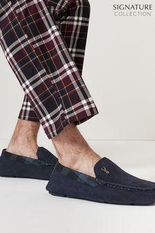 Navy Blue Modern Heritage Moccasin Slippers