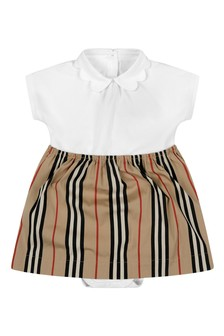 Burberry Kids Baby Girls White & Icon Stripe Cotton Dress