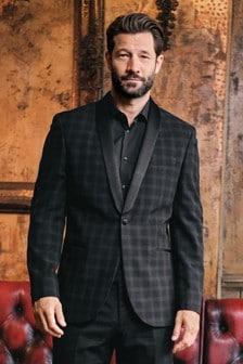 Black Tailored Fit Check Tuxedo Suit: Jacket