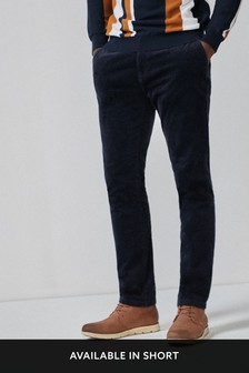 Navy Slim Fit Cord Chinos