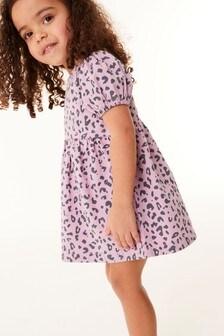 Lilac Animal Puff Sleeve Denim Dress (3mths-7yrs)