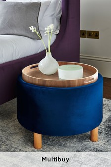 Opulent Velvet Navy Ashton Storage Stool