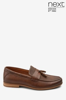 Tan Textured Tassel Loafers