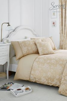 Jasmine Floral Jacquard Duvet Cover And Pillowcase Set by Serene