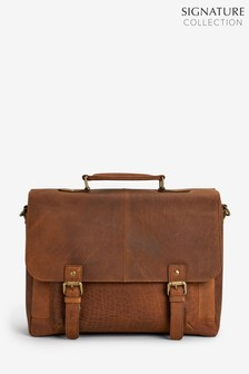 Light Brown Signature Oily Leather Briefcase
