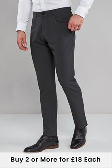 Charcoal Regular Fit Five Pocket Jean Style Trousers