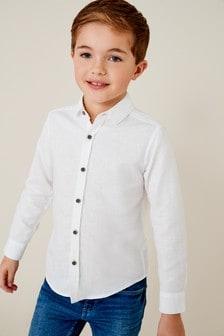 White Long Sleeve Linen Mix Shirt (3-16yrs)