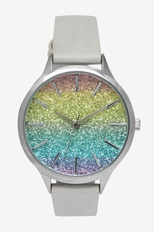 Grey Glitter Ombre Dial Watch