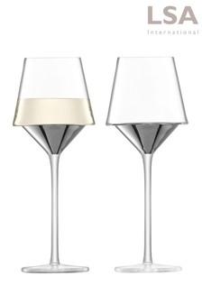 Set of 2 LSA International Space Platinum Wine Glasses