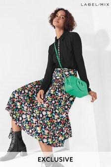 Next/Mix Floral Print Satin Skirt