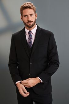 Black Regular Fit Signature Suit: Jacket