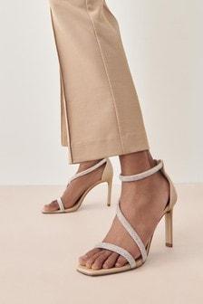 Nude Jewel Asymmetric Heeled Sandals