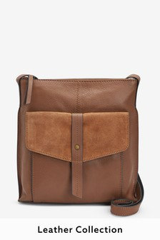 Tan  Leather Messenger Bag