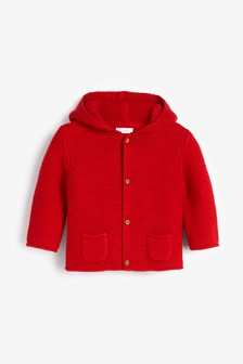 Red Hooded Cardigan (0mths-3yrs)