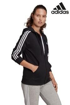 adidas Navy 3-Stripe Zip Through Hoodie