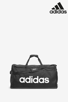 adidas Large Black Linear Logo Duffle Bag
