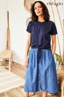 Thought Blue Esther Button Through Skirt