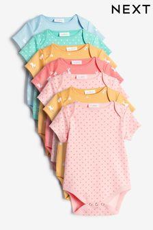 Multicolour 7 Pack Conversational Short Sleeve Bodysuits (0mths-3yrs)