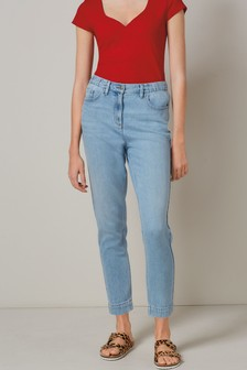 Bleach Super Soft Elasticated Waist Mom Jeans