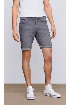 Grey Straight Fit Denim Shorts