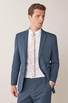 Blue Regular Fit Stretch Marl Suit: Jacket
