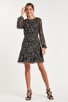 Black Floral Flippy Dress