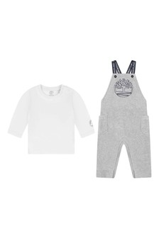 Baby Boys Grey Organic Cotton Dungaree Set