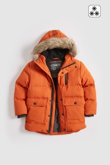 Orange  Longline Padded Faux Fur Lined Parka (3-16yrs)