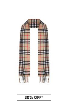 Burberry Kids Beige Vintage Check Cashmere Scarf