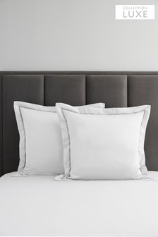 Set of 2 600 Thread Count 100% Cotton Sateen Square Pillowcases