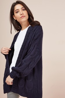 Navy  Chunky Cable Cardigan