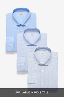 Blue Slim Fit Single Cuff Stripe And Textured Shirts Three Pack