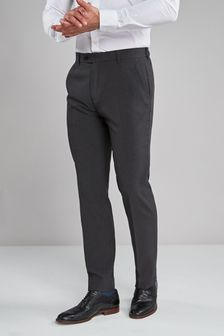 Charcoal Tailored Fit Machine Washable Plain Front Trousers