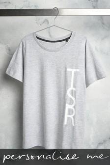 Grey Personalised Large Initial T-Shirt