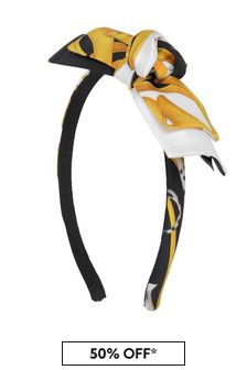 Girls Black/Gold Silk Bow Headband