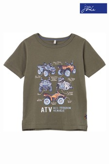 Joules Green Castaway Slim Fit Screenprint T-Shirt