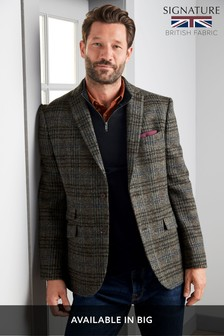 Grey Check Tailored Fit Tailored Fit Harris Tweed Signature Blazer