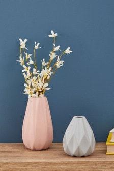 Set of 2 Pleated Ceramic Vases