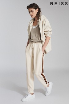 Reiss White Danica Side Stripe Loungewear Joggers