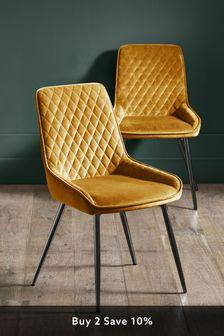 Opulent Velvet Ochre Set of 2 Hamilton Dining Chairs with Black Legs