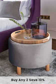 Opulent Velvet Steel  Ashton Storage Stool
