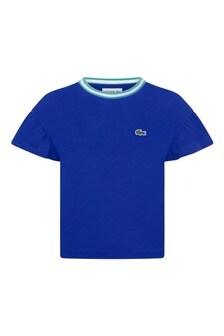 Girls Cotton Blue Frills Sleeve T-Shirt