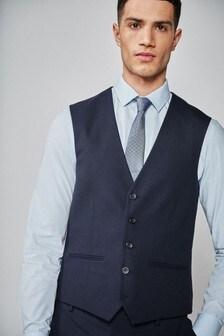 Navy Textured Suit: Waistcoat