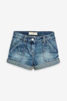 Mid Blue Turn-Up Denim Shorts (3-16yrs)