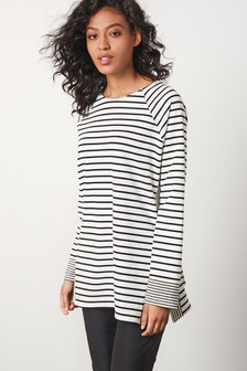 Black/White Stripe Side Split Long Sleeve Top
