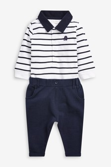 White/Blue Polo Bodysuit And Trousers Set (0mths-3yrs)